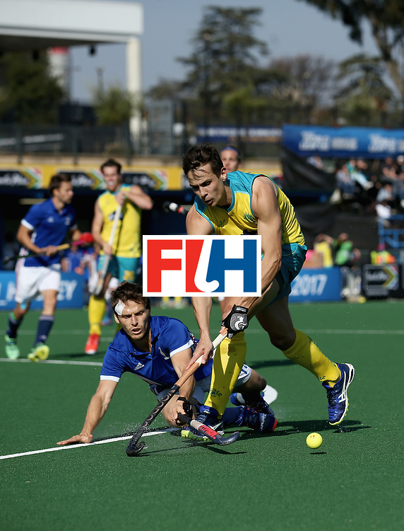 JOHANNESBURG, SOUTH AFRICA - JULY 11: Tom Craig of Australia and Jean-Baptiste Forgues of France battle for possession during day 2 of the FIH Hockey World League Semi Finals Pool A match between Australia and France at Wits University on July 11, 2017 in Johannesburg, South Africa. (Photo by Jan Kruger/Getty Images for FIH)