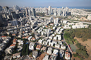 Elevated aerial  view of Tel Aviv and Ramat Gan as seen from above the Ayalon highway