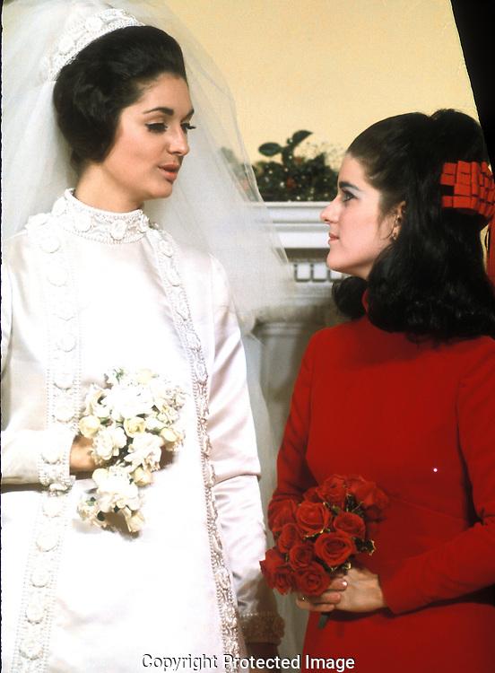 Lynda Bird and Luci Baines Johnson at the wedding of Lynda Bird to Chuck Robb in December 1967