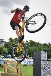© Licensed to London News Pictures. 29/07/2017. London, UK. Members of the Andrei Burton stunt riding team take part in the London Trials Championships in Green Park tackling a course made up of tricky obstacles.  The event is part of Prudential RideLondon FreeCycle, a three day celebration of cycling taking place in the capital with over 100,000 people participating over the weekend.   Photo credit : Stephen Chung/LNP