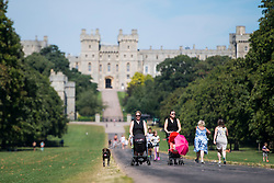 © Licensed to London News Pictures. 23/08/2016. Windsor, UK. Member of the public enjoy the warm weather while walking along The Long Walk in front of Windsor Castle in Berkshire as temperatures in the south east hit 30 degrees. Photo credit: Ben Cawthra/LNP