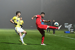 Luka Zahović of Maribor and Nemanja Jakšić of Aluminij during football match between NK Aluminij and NK Maribor in 18th Round of Prva liga Telekom Slovenije 2019/20, on November 24, 2019 in Sportni park Aluminij, Kidricevo Slovenia. Photo by Milos Vujinovic / Sportida