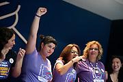 Uruguay / Montevideo / 2019<br /> D&iacute;a de la Mujer. Conferencia de prensa de mujeres representantes del PIT CNT y de la Intersectorial Feminista. En la foto, mujeres representantes del PIT CNT. De lentes y con el micr&oacute;fono, Milagro Pau. Con pa&ntilde;uelo verde y pu&ntilde;o en alto, Tamara Garc&iacute;a. Sede del PIT CNT, Montevideo, 08/03/2019.<br /> Foto: Ricardo Ant&uacute;nez / adhocFOTOS