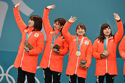 PYEONGCHANG, Feb. 25, 2018  Bronze medalist team Japan pose for photos during medal ceremony of women's curling at the 2018 PyeongChang Winter Olympic Games at Gangneung Curling Centre, Gangnueng, South Korea, Feb. 25, 2018. (Credit Image: © Ma Ping/Xinhua via ZUMA Wire)