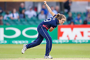 England womens cricket player Natalie Sciver  bowls during the ICC Women's World Cup match between England and Pakistan at the Fischer County Ground, Grace Road, Leicester, United Kingdom on 27 June 2017. Photo by Simon Davies.
