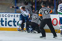 PENTICTON, CANADA - SEPTEMBER 8: Michael Carcone #58 of Vancouver Canucks drops the gloves with a player of the Winnipeg Jets on September 8, 2017 at the South Okanagan Event Centre in Penticton, British Columbia, Canada.  (Photo by Marissa Baecker/Shoot the Breeze)  *** Local Caption ***