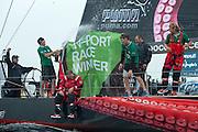 Puma powered by Berg crew celebrate winning the In Port Race in Galway Ireland. Volvo Ocean Race 2011-2012. 7/7/2012