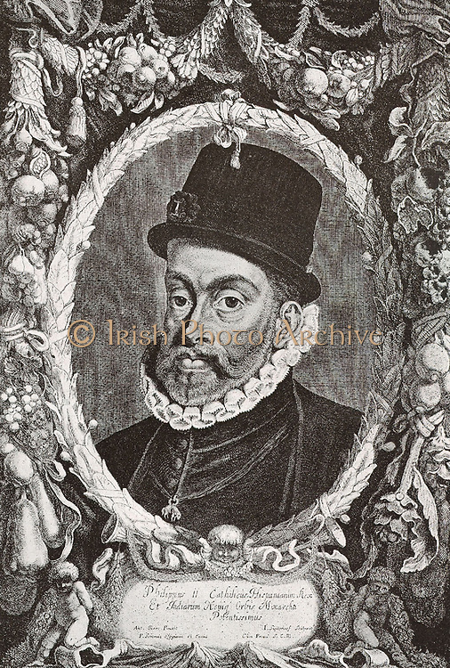 Philip II of Spain 1527-1598 was king of Spain, Portugal, Naples Sicily and, while married to Mary I, King of England and Ireland.  Also known as Philip the Prudent, he ruled one of the world's largest empires which included territories in every continent then known to Europeans.  Under his rule, Spain reached the height of its influence and power.