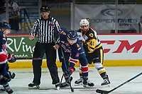 REGINA, SK - MAY 25: Jared Legien #13 of Regina Pats is back checked after the face off by Ryan Moore #40 of Hamilton Bulldogs at the Brandt Centre on May 25, 2018 in Regina, Canada. (Photo by Marissa Baecker/CHL Images)