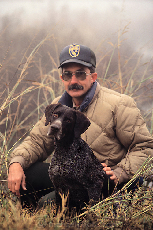 Charles Jensen with his dog at the Butte Sink Wildlife Refuge, Northern California. MODEL RELEASED.