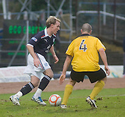 Dundee's Gary Irvine and Livingston's Mark Fotheringham - Dundee v Livingston, IRN BRU Scottish Football League, First Division at Dens Park - ..© David Young - .5 Foundry Place - .Monifieth - .Angus - .DD5 4BB - .Tel: 07765 252616 - .email: davidyoungphoto@gmail.com.web: www.davidyoungphoto.co.uk