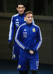 Argentina's Lucas Biglia and Angel di Maria - Mandatory by-line: Matt McNulty/JMP - 21/03/2018 - FOOTBALL - Argentina - Training session ahead of international against Italy