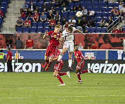 September 22, 2018 - Harrison, New Jersey, United States - Tim Parker (26) of New York Red Bulls & Nick Hagglund (6) of Toronto FC fight for ball during regular MLS game at Red Bull Arena Red Bulls won 2 - 0 (Credit Image: © Lev Radin/Pacific Press via ZUMA Wire)