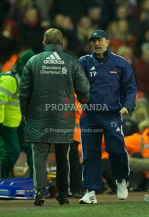 LIVERPOOL, ENGLAND - Saturday, January 14, 2012: Stoke City's manager Tony Pulis shakes hands with manager Kenny Dalglish after the goal-less Premiership match at Anfield. (Pic by David Rawcliffe/Propaganda)