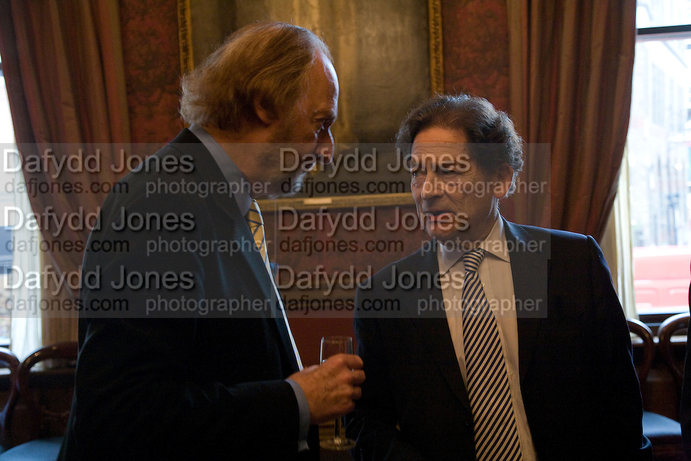 ED VICTOR AND NIGEL LAWSON, Book launch for AN APPEAL TO REASON, A Cool Look at Global Warming by Nigel Lawson. Hosted by NIGELLA LAWSON, DUCKWORTH PUBLISHERS and ED VICTOR LTD.<br />The Garrick Club. London. 16 April 2008.  *** Local Caption *** -DO NOT ARCHIVE-© Copyright Photograph by Dafydd Jones. 248 Clapham Rd. London SW9 0PZ. Tel 0207 820 0771. www.dafjones.com.