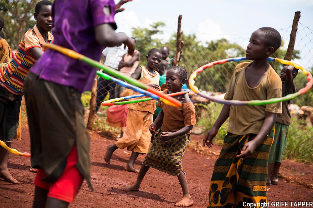 Children play in a child friendly space in the Nyarugusu refugee camp in Tanzania.