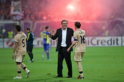 Ante Cacic, head coach of Dinamo Zagreb and Milan Badelj #16 of Dinamo Zagreb celebrate victory and advancing to main draw of Champions League for season 2012/13 after Play-offs for Champions League between NK Maribor (Slovenia) and GNK Dinamo Zagreb (Croatia), on August 28, 2012, in Maribor, Slovenia. (Photo by Matic Klansek Velej / Sportida.com)