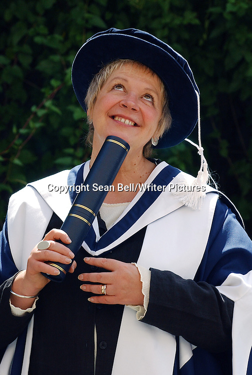 Liz Lochhead, Scottish poet and playwright receives her honorary degree from Queen Margaret University College in Edinburgh in July 2005<br /> <br /> Picture by Sean Bell/Writer Pictures