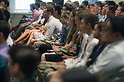 Faculty and students of Ohio University's College of Business attend the Freshman Convocation at Nelson Commons on August 20, 2016.