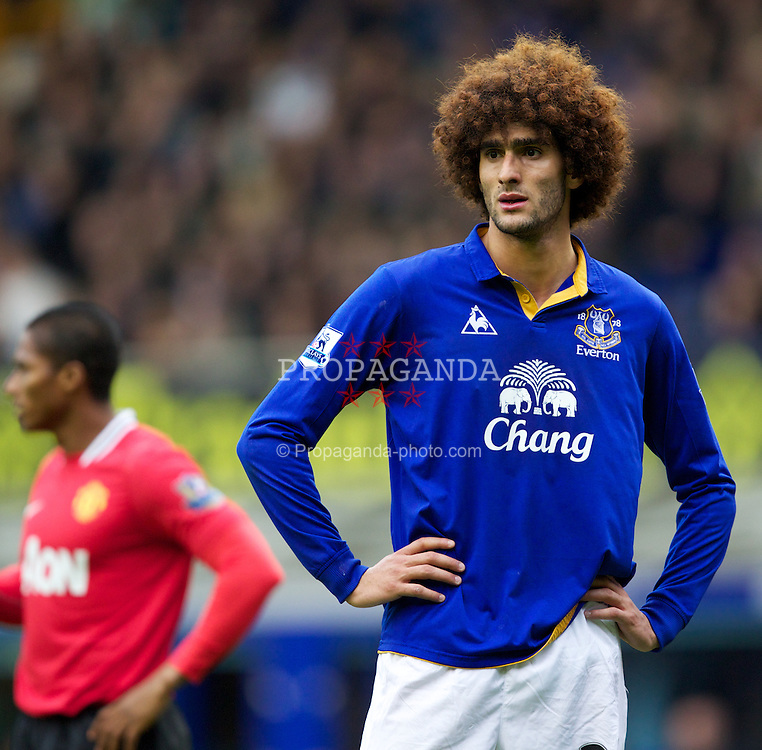 LIVERPOOL, ENGLAND - Saturday, October 29, 2011: Everton's Marouane Fellaini looks dejected during the Premiership match against Manchester United at Goodison Park. (Pic by Vegard Grott/Propaganda)