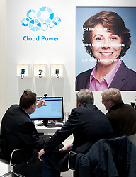 Microsoft cloud computing stall at CeBIT 2011 digital and electronics trade fair in Hannover March 2011 Germany