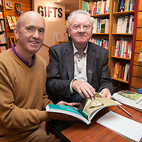 Donal O'Beara, a native of Ennis whose father worked with Donncha at RTE, at the launch of Donncha O Dúlaing new book  at the Ennis Bookshop