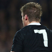 The number seven on the back of All Blacks captain Richie McCaw during the New Zealand V France Final at the IRB Rugby World Cup tournament, Eden Park, Auckland, New Zealand. 23rd October 2011. Photo Tim Clayton...