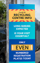 © Licensed to London News Pictures;18/05/2020; Bristol, UK. Cars with even number plates for even dates of the month queue to enter the St Philips Household Waste Recycling Centre in Bristol on its first day of opening since lockdown restrictions were imposed during the Covid-19 coronavirus pandemic. After weeks of the centre being shut there was high demand from people wanting to recycle their rubbish with queues up to 2 hours long. Bristol Waste have put in a system of cars with the last number on their number plates matching the date, so odd numbers can visit the centre on odd days of the month and even numbers can visit on even days of the month. More recycling centres are now open across the UK as the Government eases lockdown restrictions but the new rules include that social distancing must be maintained within the centre. Photo credit: Simon Chapman/LNP.