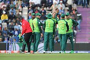 Chris Morris and team-mates celebrate the wicket of MS Dhoni during the ICC Cricket World Cup 2019 match between South Africa and India at the Hampshire Bowl, Southampton, United Kingdom on 5 June 2019.