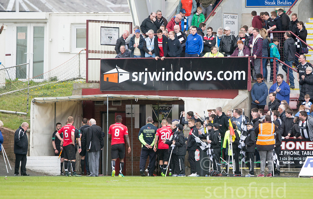 Fans react when Ref Gavin Duncan leaves the pitch at the end. Dunfermline 1 v 2 Falkirk, Scottish Championship game played 22/4/2017 at Dunfermline's home ground, East End Park.