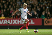 Alex Greenwood (England) (Liverpool) runs through in injury time, her shot beats the keeper, but not the far post during the Women's International Friendly match between England Ladies and Italy Women at Vale Park, Burslem, England on 7 April 2017. Photo by Mark P Doherty.