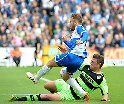 Forest Green Rovers's Danny Coles tackles Bristol Rovers' Matt Taylor for the ball- Photo mandatory by-line: Nizaam Jones /JMP - Mobile: 07966 386802 - 03/05/2015 - SPORT - Football - Bristol - Memorial Stadium - Bristol Rovers v Forest Green Rovers - Vanarama Football Conference.