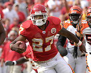 October 14, 2007 - Kansas City, MO..Running back Larry Johnson #27 of the Kansas City Chiefs in action against the Cincinnati Bengals, during a NFL game at Arrowhead Stadium in Kansas City, Missouri on October 14, 2007...FBN:  The Chiefs defeated the Bengals 27-20.  .Photo by Peter G. Aiken/Cal Sport Media