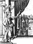 Archimedes (c287-212 BC) Ancient Greek mathematician and inventor. Archimedes drawing back curtain to reveal various mechanical devices such as waterwheels and windmills and the machinery inside them; from title page of Georg Andreas Bockler 'Theatrum Machinarum Novum', Nuremberg, 1661.