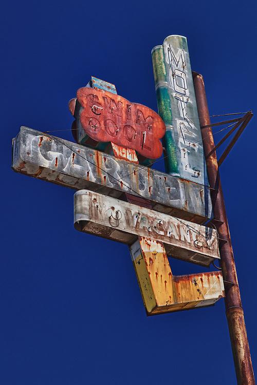 Garden Motel Sign - Kingsburg, CA - Old Highway 99 - HDR
