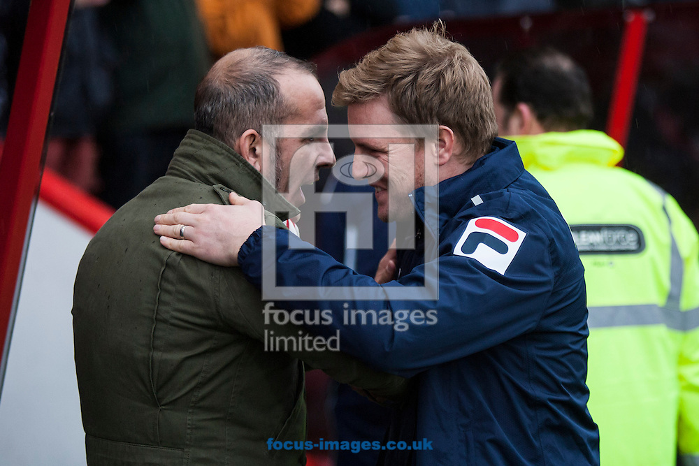 Picture by Daniel Chesterton/Focus Images Ltd +44 7966 018899.12/01/2013.Swindon Town manager Paolo Di Canio and Bournemouth manager Eddie Howe before the npower League 1 match at the Seward Stadium, Bournemouth.