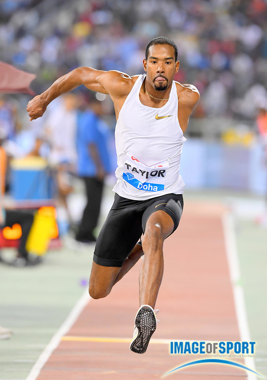 Christian Taylor (USA) places second in the triple jump at 58-5 /14 (17.81m) in the 2018 IAAF Doha Diamond League meeting at Suhaim Bin Hamad Stadium in Doha, Qatar, Friday, May 4, 2018. (Jiro Mochizuki/Image of Sport)