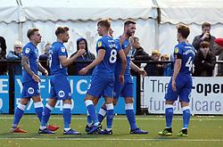 Matt Godden of Peterborough United celebrates scoring with team-mates - Mandatory by-line: Joe Dent/JMP - 10/11/2018 - FOOTBALL - Hayes Lane - Bromley, England - Bromley v Peterborough United - Emirates FA Cup first round proper