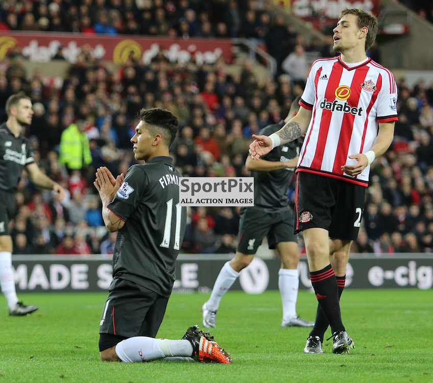 Roberto Firmino misses another good chance during the Sunderland FC v Liverpool FC English Premier League 30th March 2015...©Edward Linton | SportPix.org.uk