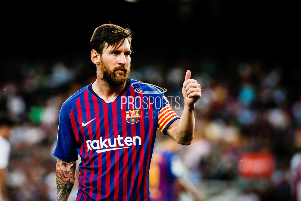 Lionel Messi of FC Barcelona celebrates a goal during the Spanish championship La Liga football match between FC Barcelona and Huesca on September 2, 2018 at Camp Nou Stadium in Barcelona, Spain - Photo Xavier Bonilla / Spain ProSportsImages / DPPI / ProSportsImages / DPPI