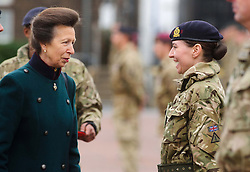 © Licensed to London News Pictures. 04/12/2013 Windsor, UK. <br /> HRH The Princess Royal presents the Afghanistan Operation Service medal to members of the Household Cavalry Regiment  at Combermere Barracks, Windsor to mark their sixth and final return from Afghanistan.  Photo credit : Simon Jacobs/LNP