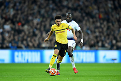 February 13, 2019 - London, England, United Kingdom - Borussia Dortmund midfielder Jadon Sancho on the move during the UEFA Champions League match between Tottenham Hotspur and Ballspielverein Borussia 09 e.V. Dortmund at Wembley Stadium, London on Wednesday 13th February 2019. (Credit: Jon Bromley | MI News & Sport Ltd) (Credit Image: © Mi News/NurPhoto via ZUMA Press)