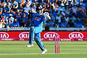 MS Dhoni of India hits the ball to the boundary for four runs during the International T20 match between England and India at the SWALEC Stadium, Cardiff, United Kingdom on 6 July 2018. Picture by Graham Hunt.