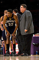 27 March 2007: Guard Rudy Gay of the Memphis Grizzlies speaks to head coach Tony Barone during a timeout against the Los Angeles Lakers during the first half of the Grizzlies 88-86 victory over the Lakers at the STAPLES Center in Los Angeles, CA.