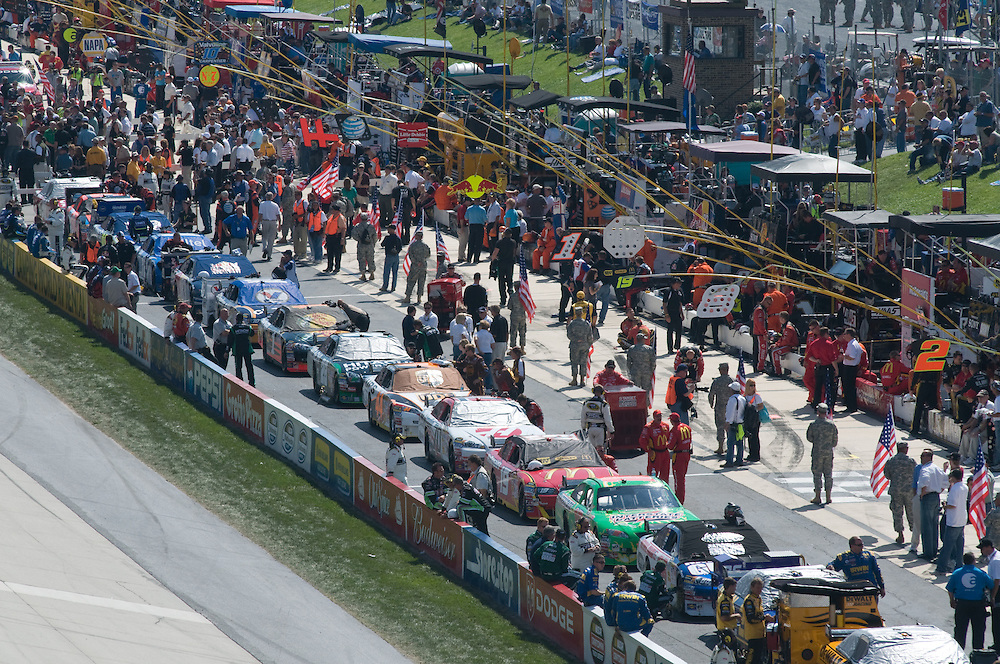 Cars lined up at Nascar Race at Dover Speedway