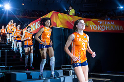 20-10-2018 JPN: Final World Championship Volleyball Women day 18, Yokohama<br /> China - Netherlands 3-0 / Yvon Belien #3 of Netherlands, Celeste Plak #4 of Netherlands, Juliet Lohuis #7 of Netherlands