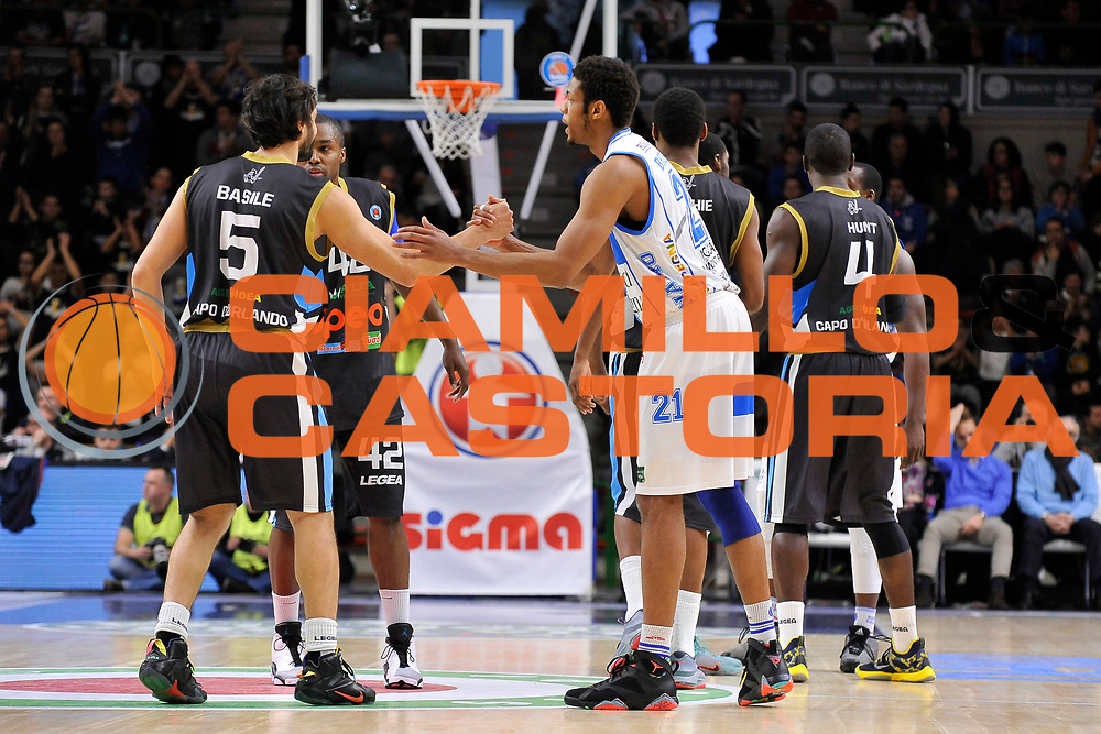 DESCRIZIONE : Campionato 2014/15 Serie A Beko Dinamo Banco di Sardegna Sassari - Upea Capo D'Orlando <br /> GIOCATORE : Gianluca Basile Jeff Brooks<br /> CATEGORIA : Before Pregame Fair Play<br /> SQUADRA :<br /> EVENTO : LegaBasket Serie A Beko 2014/2015 <br /> GARA : Dinamo Banco di Sardegna Sassari - Upea Capo D'Orlando <br /> DATA : 22/03/2015 <br /> SPORT : Pallacanestro <br /> AUTORE : Agenzia Ciamillo-Castoria/C.Atzori <br /> Galleria : LegaBasket Serie A Beko 2014/2015