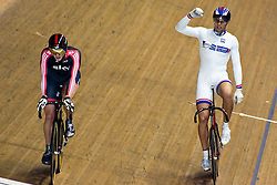 © Licensed to London News Pictures. 19/02/2011. Jason Kenny of team Sky is beaten in the final of the mens Sprint, by Frenchman KÈvin SIREAU..At the UCI Track Cycling World CUp in Manchester. this evening (19/02/2011). Photo credit should read: Reuben Tabner/LNP