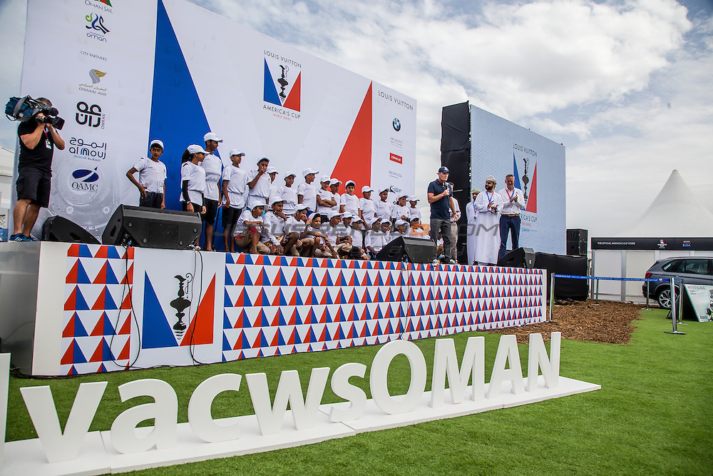 America's Cup arrives in Muscat.Practice race.Louis Vuitton America's Cup World Series Oman 2016. The youth squad.Opening ceremony.Muscat ,The Sultanate of Oman.Image licensed to Jesus Renedo/Lloyd images/Oman Sail