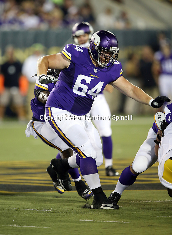 Minnesota Vikings rookie guard Bob Vardaro (64) lead blocks on a running play during the 2015 NFL Pro Football Hall of Fame preseason football game against the Pittsburgh Steelers on Sunday, Aug. 9, 2015 in Canton, Ohio. The Vikings won the game 14-3. (©Paul Anthony Spinelli)